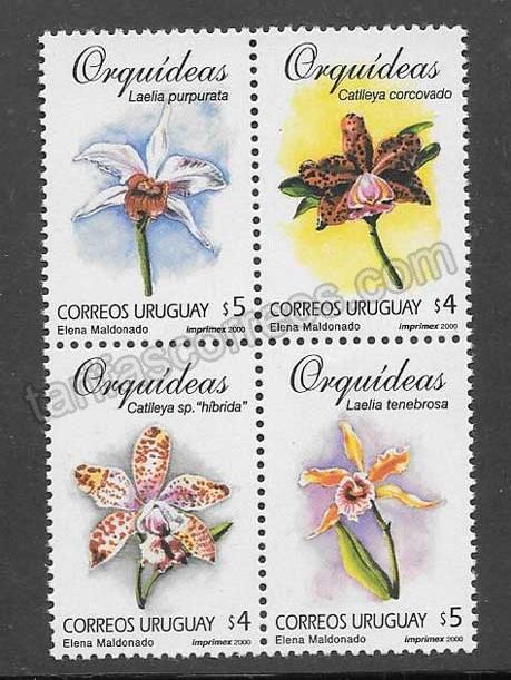 Filatelia  Sellos orquídeas diversas Uruguay 2000