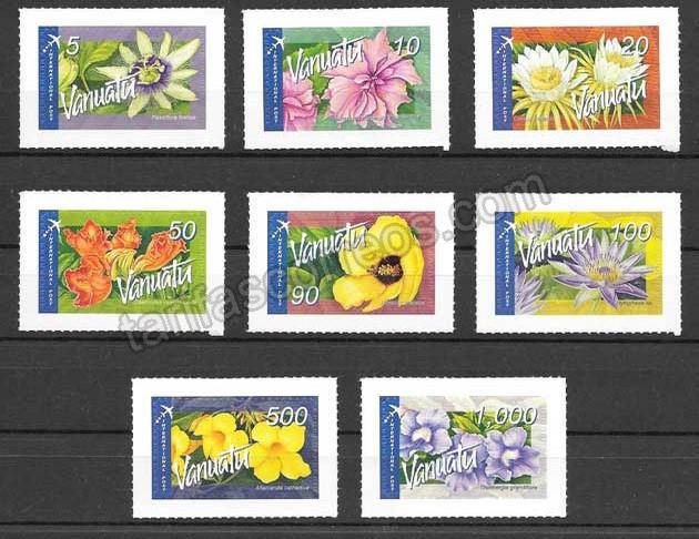 enviar paquetes desde - valor sellos Filatelia flores diversas de vanatu aéreas