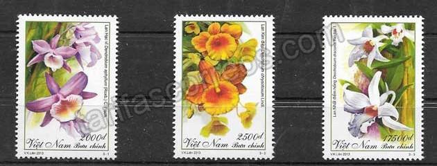 Sellos flores diversas de Viet Nam