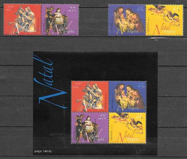 enviar paquetes desde - valor sellos colección navidad Angola 2003