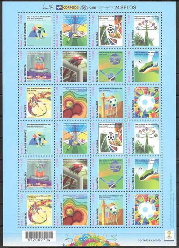 selos fútbol Brasil 2014
