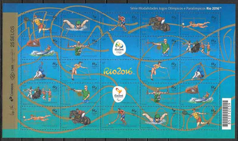 Filatelia olimpiada Brasil 2015