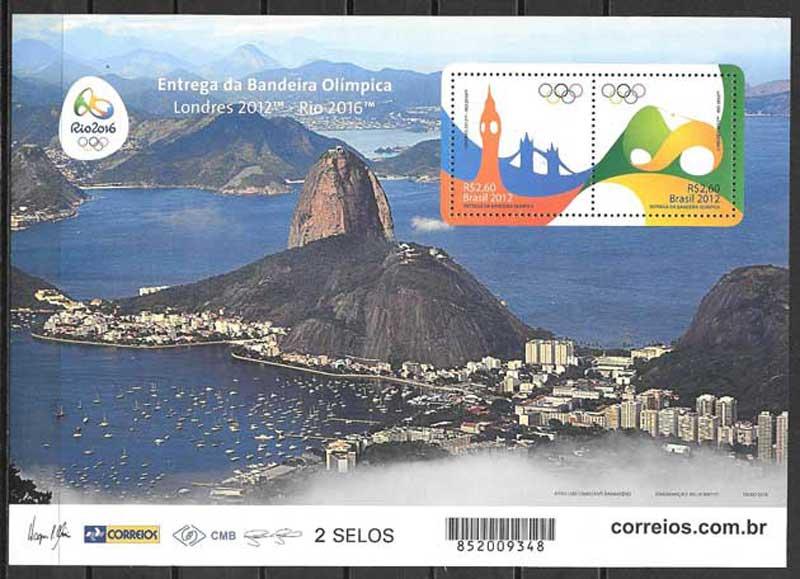 enviar paquetes desde - valor sellos colección olimpiada Brasil 2016