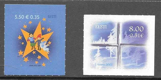 Filatelia navidad Estonia 2007