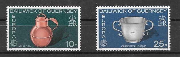 Sellos Tema Europa Guernsey 1976