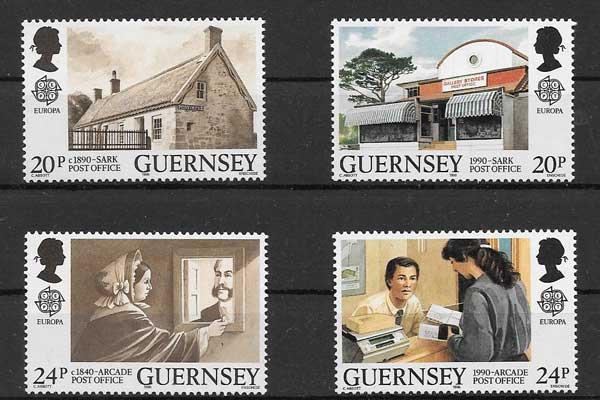 Sellos filatelia Tema Europa Guernsey 1990