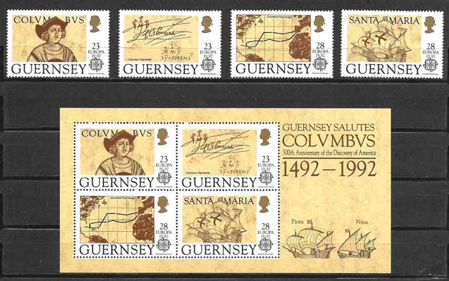 valor y precio Colección sellos Tema Europa Guernsey 1992