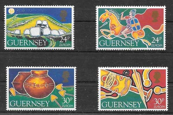 enviar paquetes desde - valor sellos Tema Europa Guernsey 1994