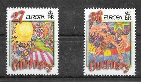 enviar paquetes desde - valor sellos Tema Europa Guernsey 2002