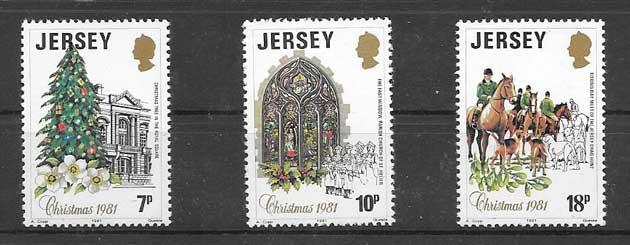 enviar paquetes desde - valor sellos navidad de Jersey 1981