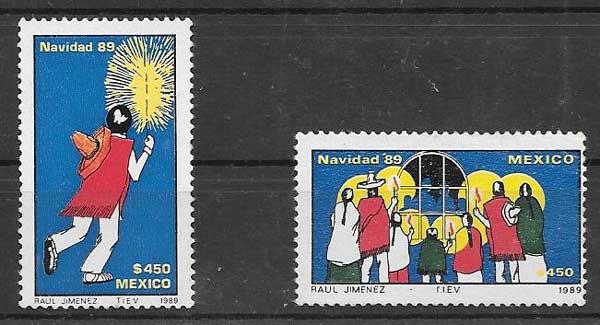 enviar paquetes desde - valor sellos navidad México 1989