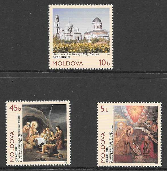 enviar paquetes desde - valor sellos colección navidad Moldavia 1997