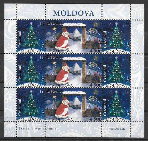 Filatelia navidad moldavia 2007