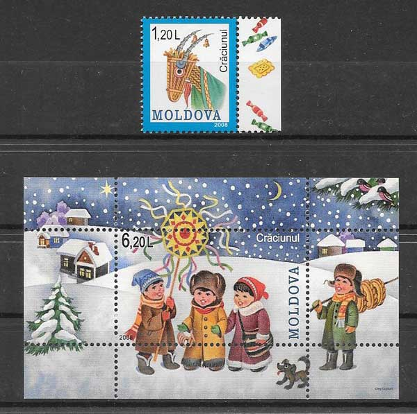 enviar paquetes desde - valor sellos navidad Moldavia 2008