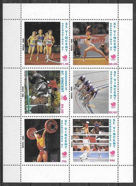 valor y precio Colección sellos Sain Vincent deporte 1989