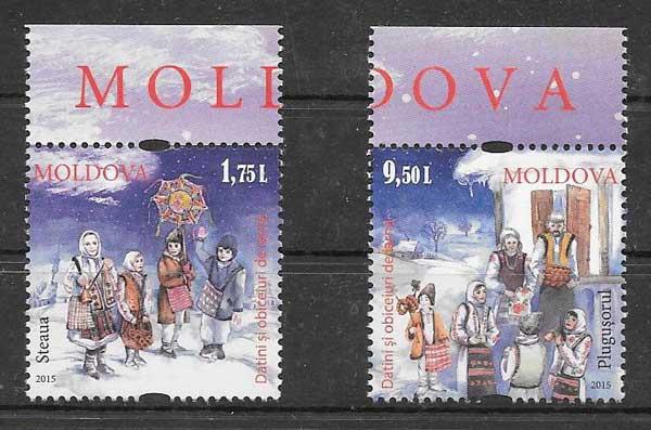 enviar paquetes desde - valor sellos navidad 2015 Moldavia